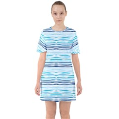 Watercolor Blue Abstract Summer Pattern Mini Dress
