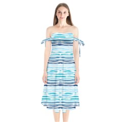 Watercolor Blue Abstract Summer Pattern Shoulder Tie Bardot Midi Dress