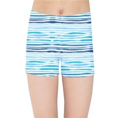 Watercolor Blue Abstract Summer Pattern Kids Sports Shorts
