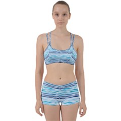 Watercolor Blue Abstract Summer Pattern Women s Sports Set