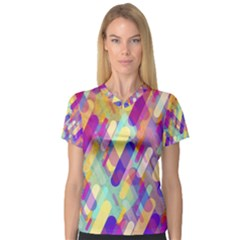 Colorful Abstract Background V Neck Sport Mesh Tee