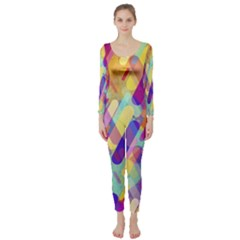 Colorful Abstract Background Long Sleeve Catsuit