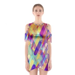 Colorful Abstract Background Shoulder Cutout One Piece