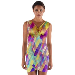 Colorful Abstract Background Wrap Front Bodycon Dress