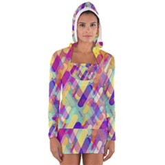 Colorful Abstract Background Long Sleeve Hooded T Shirt