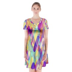 Colorful Abstract Background Short Sleeve V Neck Flare Dress
