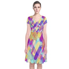 Colorful Abstract Background Short Sleeve Front Wrap Dress