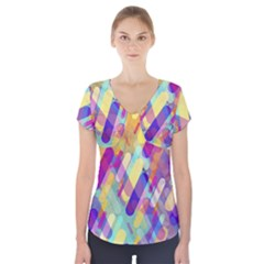 Colorful Abstract Background Short Sleeve Front Detail Top