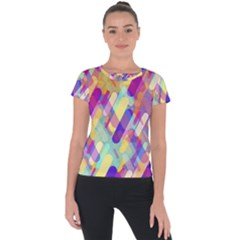 Colorful Abstract Background Short Sleeve Sports Top