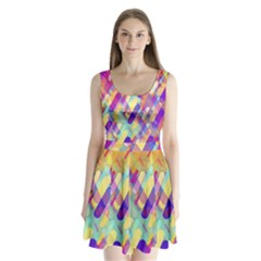 Colorful Abstract Background Split Back Mini Dress