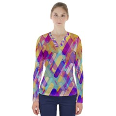 Colorful Abstract Background V Neck Long Sleeve Top