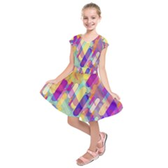 Colorful Abstract Background Kids  Short Sleeve Dress