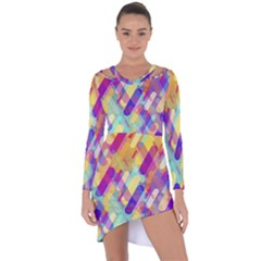 Colorful Abstract Background Asymmetric Cut Out Shift Dress