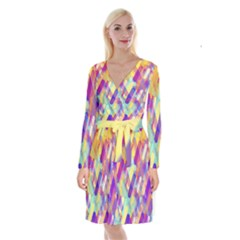Colorful Abstract Background Long Sleeve Velvet Front Wrap Dress