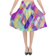 Colorful Abstract Background Flared Midi Skirt