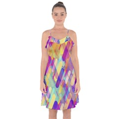 Colorful Abstract Background Ruffle Detail Chiffon Dress