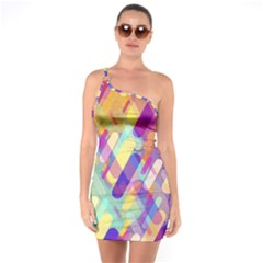 Colorful Abstract Background One Soulder Bodycon Dress