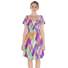 Colorful Abstract Background Short Sleeve Bardot Dress