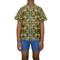 Star Shines On Earth For Peace In Colors Kids  Short Sleeve Swimwear
