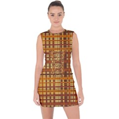 Plaid Pattern Lace Up Front Bodycon Dress