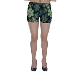 Abstraction Fractal Flowers Greens  Skinny Shorts