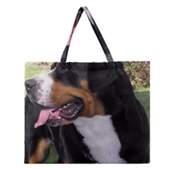 Greater Swiss Mountain Dog Zipper Large Tote Bag