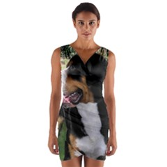 Greater Swiss Mountain Dog Wrap Front Bodycon Dress