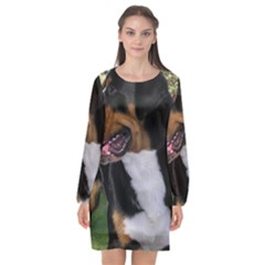 Greater Swiss Mountain Dog Long Sleeve Chiffon Shift Dress