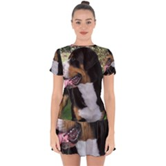 Greater Swiss Mountain Dog Drop Hem Mini Chiffon Dress