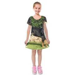 Gsmd Full Kids  Short Sleeve Velvet Dress