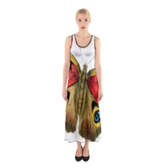 Butterfly Bright Vintage Drawing Sleeveless Maxi Dress
