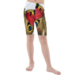 Butterfly Bright Vintage Drawing Kids  Mid Length Swim Shorts