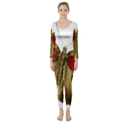 Butterfly Bright Vintage Drawing Long Sleeve Catsuit