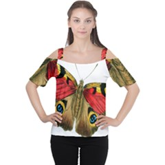 Butterfly Bright Vintage Drawing Cutout Shoulder Tee