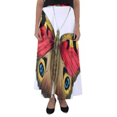 Butterfly Bright Vintage Drawing Flared Maxi Skirt
