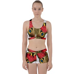 Butterfly Bright Vintage Drawing Work It Out Sports Bra Set