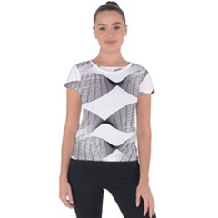 Curves Pattern Black On White Short Sleeve Sports Top