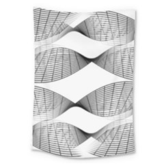 Curves Pattern Black On White Large Tapestry
