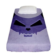 Purple Evil Cat Skull Fitted Sheet (single Size)
