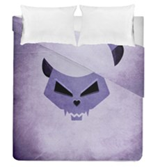 Purple Evil Cat Skull Duvet Cover Double Side (queen Size)