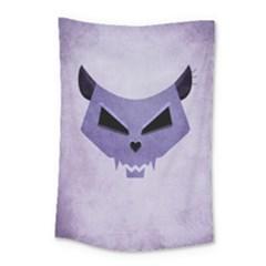Purple Evil Cat Skull Small Tapestry