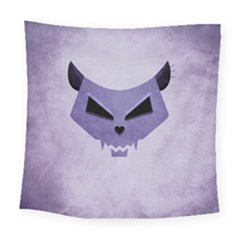 Purple Evil Cat Skull Square Tapestry (large)