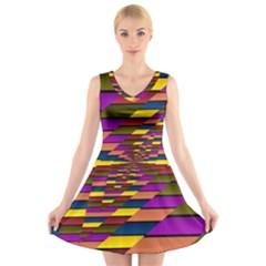 Autumn Check V Neck Sleeveless Skater Dress