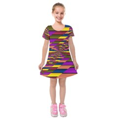 Autumn Check Kids  Short Sleeve Velvet Dress