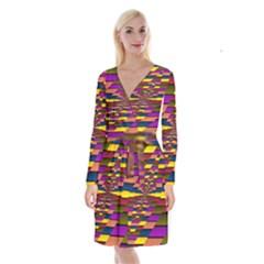 Autumn Check Long Sleeve Velvet Front Wrap Dress