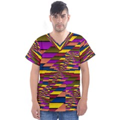 Autumn Check Men s V Neck Scrub Top