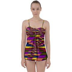 Autumn Check Babydoll Tankini Set