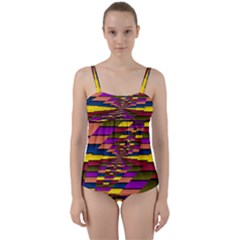 Autumn Check Twist Front Tankini Set