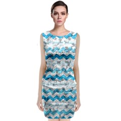 Baby Blue Chevron Grunge Classic Sleeveless Midi Dress