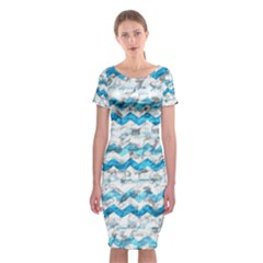 Baby Blue Chevron Grunge Classic Short Sleeve Midi Dress